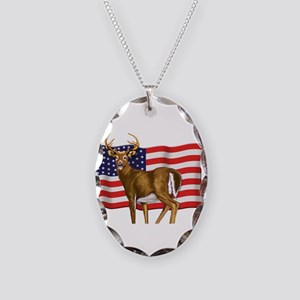 American White Tail Deer Buck Necklace Oval Charm