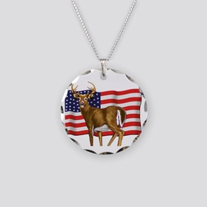 American White Tail Deer Buck Necklace Circle Char