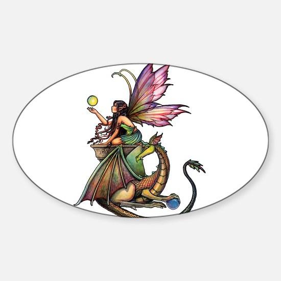 Dragon's Orbs Fairy and Dragon Art Sticker (Oval)