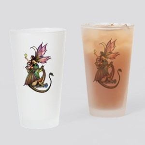 Dragon's Orbs Fairy and Dragon Art Drinking Glass