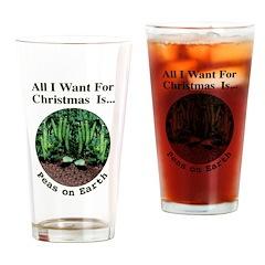 Xmas Peas on Earth Drinking Glass