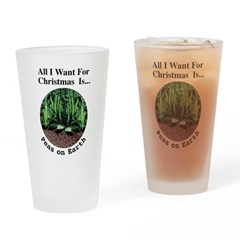 Xmas Peas on Earth Drinking Glass