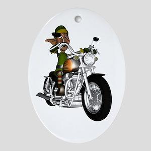 Biker Elf Ornament (Oval)