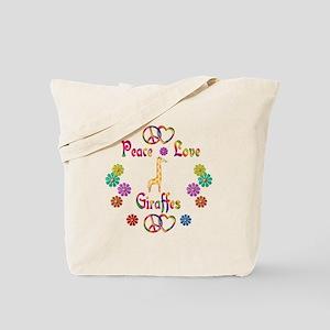Peace Love Giraffes Tote Bag