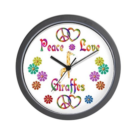 Peace Love Giraffes Wall Clock