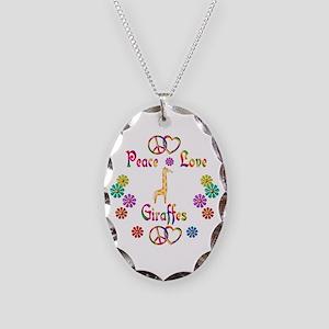 Peace Love Giraffes Necklace Oval Charm