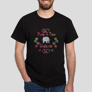 Peace Love Elephants Dark T-Shirt