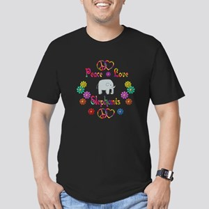 Peace Love Elephants Men's Fitted T-Shirt (dark)