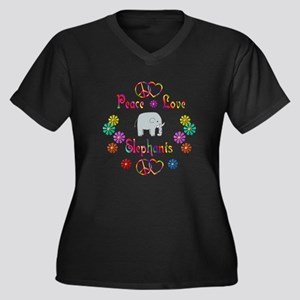 Peace Love Elephants Women's Plus Size V-Neck Dark