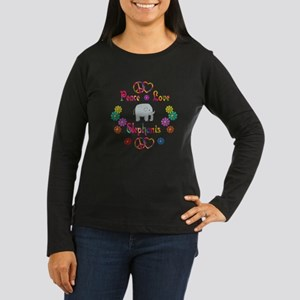 Peace Love Elephants Women's Long Sleeve Dark T-Sh