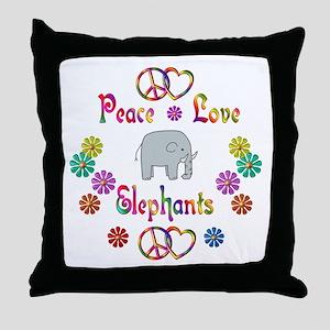 Peace Love Elephants Throw Pillow