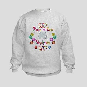 Peace Love Elephants Kids Sweatshirt