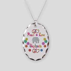 Peace Love Elephants Necklace Oval Charm
