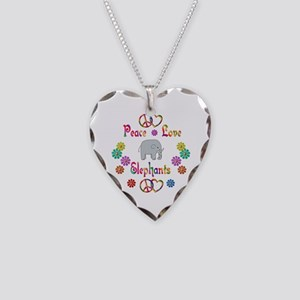 Peace Love Elephants Necklace Heart Charm