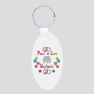Peace Love Elephants Aluminum Oval Keychain