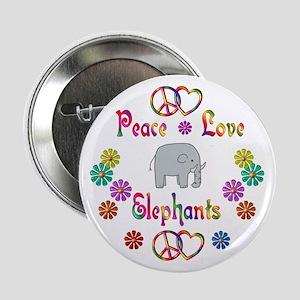 "Peace Love Elephants 2.25"" Button"