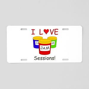 I Love Jam Sessions Aluminum License Plate