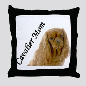 Cavalier Mom-Ruby Throw Pillow