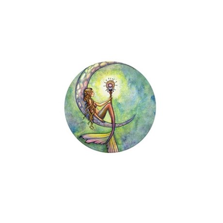 Mermaid Moon Fantasy Art Mini Button