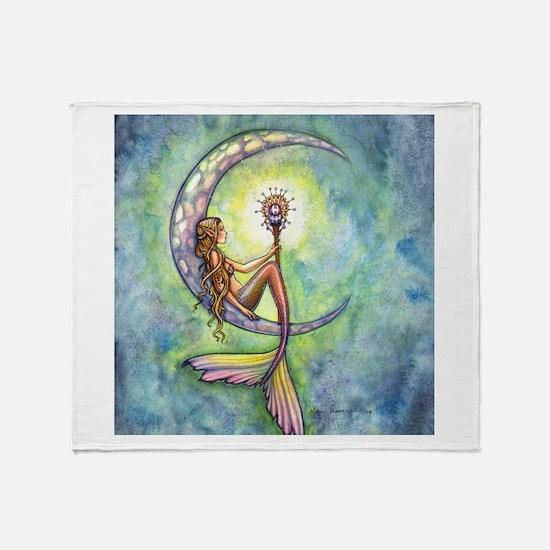 Mermaid Moon Fantasy Art Throw Blanket