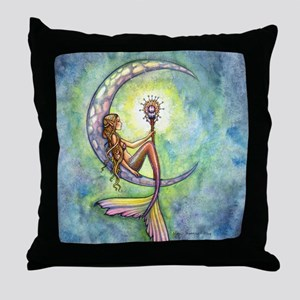 Mermaid Moon Fantasy Art Throw Pillow