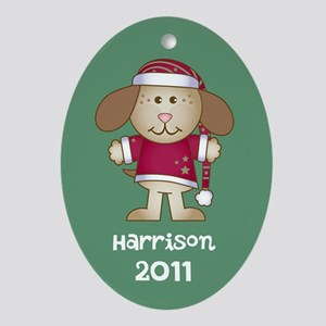 Customizable Christmas Puppy Ornament (Oval)