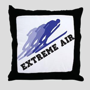 Extreme Air Skiing Throw Pillow