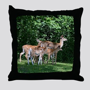 Doe and triplets Throw Pillow
