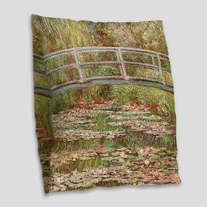 Monet's Japanese Bridge an Burlap Throw Pillow