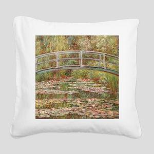 Monet's Japanese Bridge a Square Canvas Pillow
