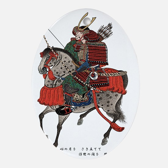 Horse-riding samurai Ornament (Oval)
