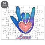 Blue Glass Love Hand Puzzle