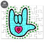Aqua Bold Love Hand Puzzle