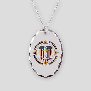Emblem - US Merchant Marine Necklace Oval Charm
