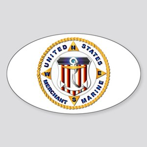 Emblem - US Merchant Marine - USMM Sticker (Oval)