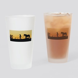 Girl and Horse at Sunset Drinking Glass