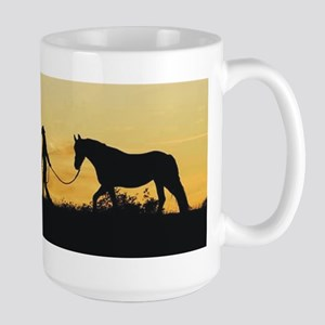 Girl and Horse at Sunset Large Mug
