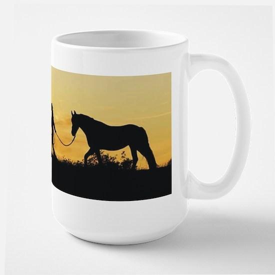 Girl and Horse at Sunset Large Mug