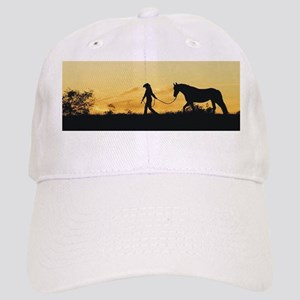 Girl and Horse at Sunset Cap