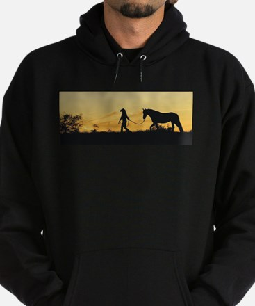 Girl and Horse at Sunset Hoodie (dark)