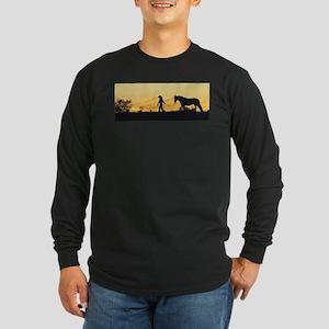 Girl and Horse at Sunset Long Sleeve Dark T-Shirt