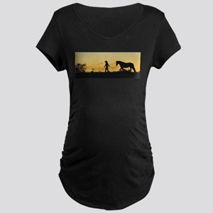 Girl and Horse at Sunset Maternity Dark T-Shirt