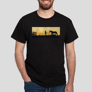 Girl and Horse at Sunset Dark T-Shirt