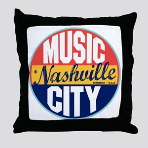Nashville Vintage Label Throw Pillow