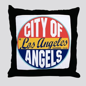 Los Angeles Vintage Label Throw Pillow