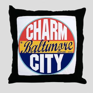 Baltimore Vintage Label Throw Pillow