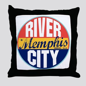 Memphis Vintage Label Throw Pillow