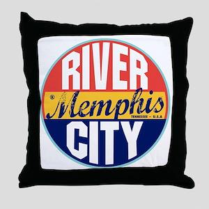 Memphis Vintage Label Throw Pillow