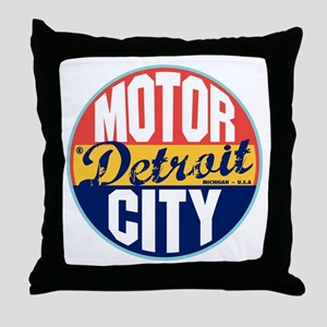 Detroit Vintage Label Throw Pillow