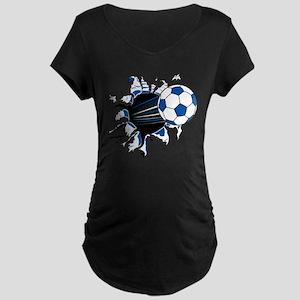 Soccer Ball Burst Maternity Dark T-Shirt
